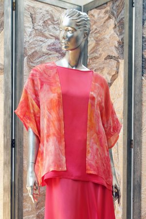 Little Jacket in Red Rose and Orange Hand Marbled Georgette Silk