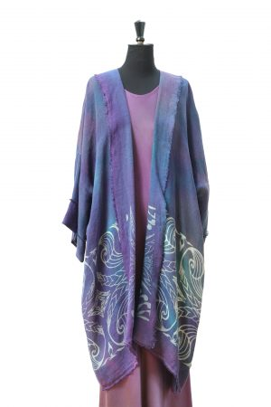 Luxury Linen Jacket with Shell Phantom Print