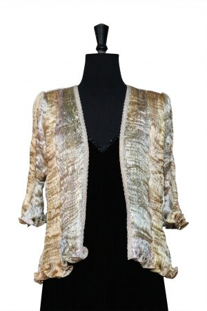 Hand Pleated Silk Jacket in Mixed Soft Gold Rainbow