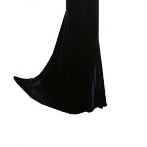 Long velvet Slim Bias Skirt in Black