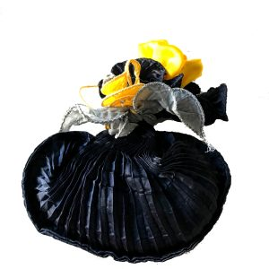 Hand Pleated Silk Herb Bag – Deep Dark Sapphire Blue & Yellow