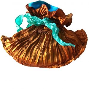 Hand Pleated Silk Lavender Bag – Tiger's Eye and Turquoise