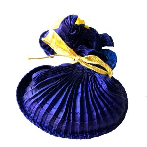 Hand Pleated Silk Herb Bag – Lapis Blue