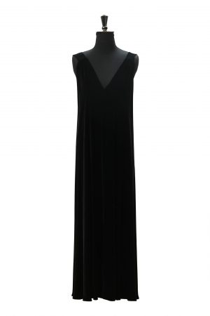 Long Simone Dress in Black Velvet