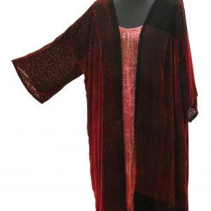 Veneto Coat in Black and Embers Silk and Viscose Velvet with Crackle Devore