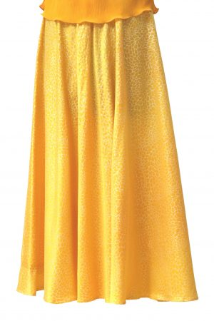 Bias Skirt in Goose Egg Yellow Silk Satin with Maidenhair Silver Print