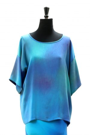 Tricia Top in Blue Opal silk