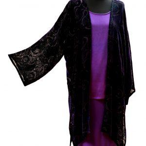 Long Coat in Black and Purple Emperor Silk Viscose Velvet with Rockpool Devore Print