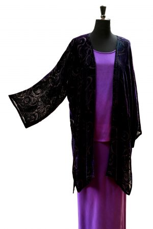 Long Coat in Black and Purple Emperor Silk Viscose Velvet with Rockpool Devore Print