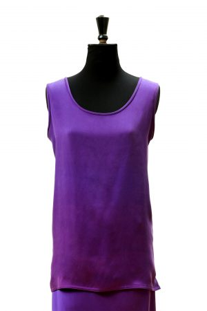Vest Tabard Top in Emperor Purple Silk Crepe Back Satin