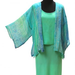 Kimono Jacket in Pale Mediterranean Sea Silk Satin Chiffon