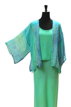 Kimono Jacket in Pale Mediterranean Sea Silk Satin Chiffon
