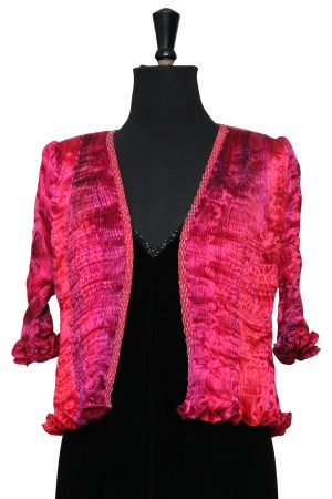 Small Tailcoat in Hand Pleated Silk in Mixed Fuchsia Reds and Pinks with Geranium Print
