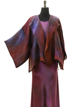 Kimono Waterfall Jacket in Hand Painted Linen in Corr Purple