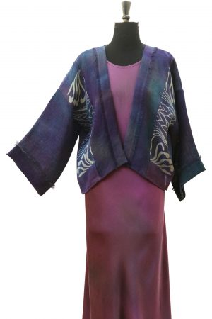 Little Jacket in Blue Purple Slate with Shell Phantom Print on Linen