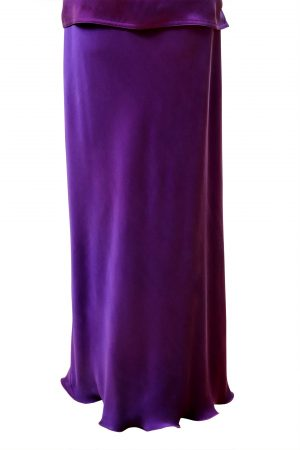 Slim Bias Skirt in Emperor Purple Crepe Back Satin