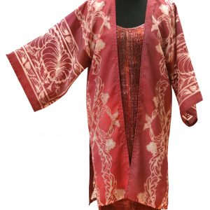Rosslyn Coat in Sedona Rose with Pomegranate Devore on Hazelwood