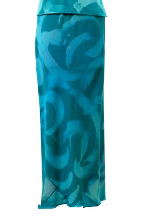 Slim Bias Skirt in Tropical Blue Pool – with Hand Painted Swirls on Wool Cotton Mix