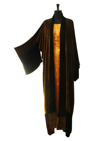 Long Evening Kimono Coat in Golden Brown Silk and Viscose Velvet with Shell Phantom Print