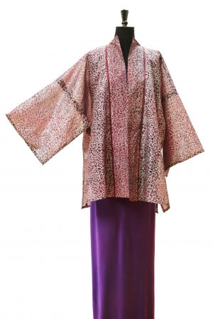 Hapi Kimono Coat in Bruised Damson Silk Organza with Crackle Silver Print