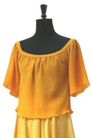 Katie Camisole Top in Goose Egg Yellow Crinkle Silk