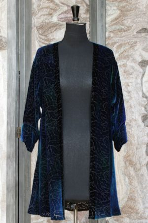 Florentina Coat in Iris Blue Silk and Viscose Velvet with Acanthus Leaf Devore Print