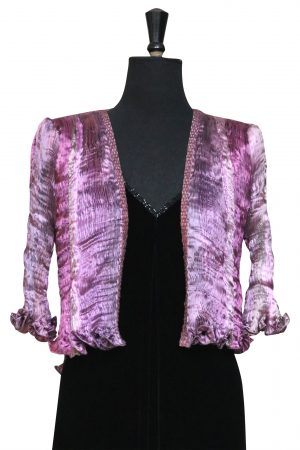 Hand Pleated Silk Jacket in Summer Moorland Heather Mist