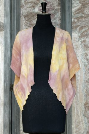 Little Jacket in Marbled Autumn Gold Crinkle Silk
