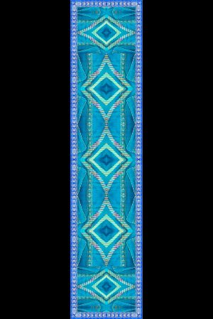 Geometric Chevron & Motif Silk Satin Stole in Bright Turquoise Lagoon. Limited Edition hand roll hemmed stole in silk satin