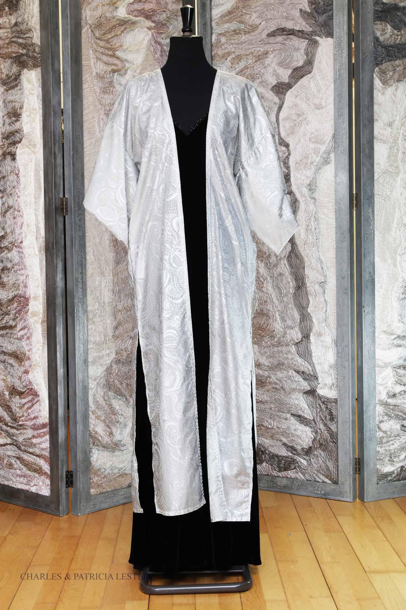 Long Kimono Coat in Platinum Rainbow Silk with Silver Rockpool Print