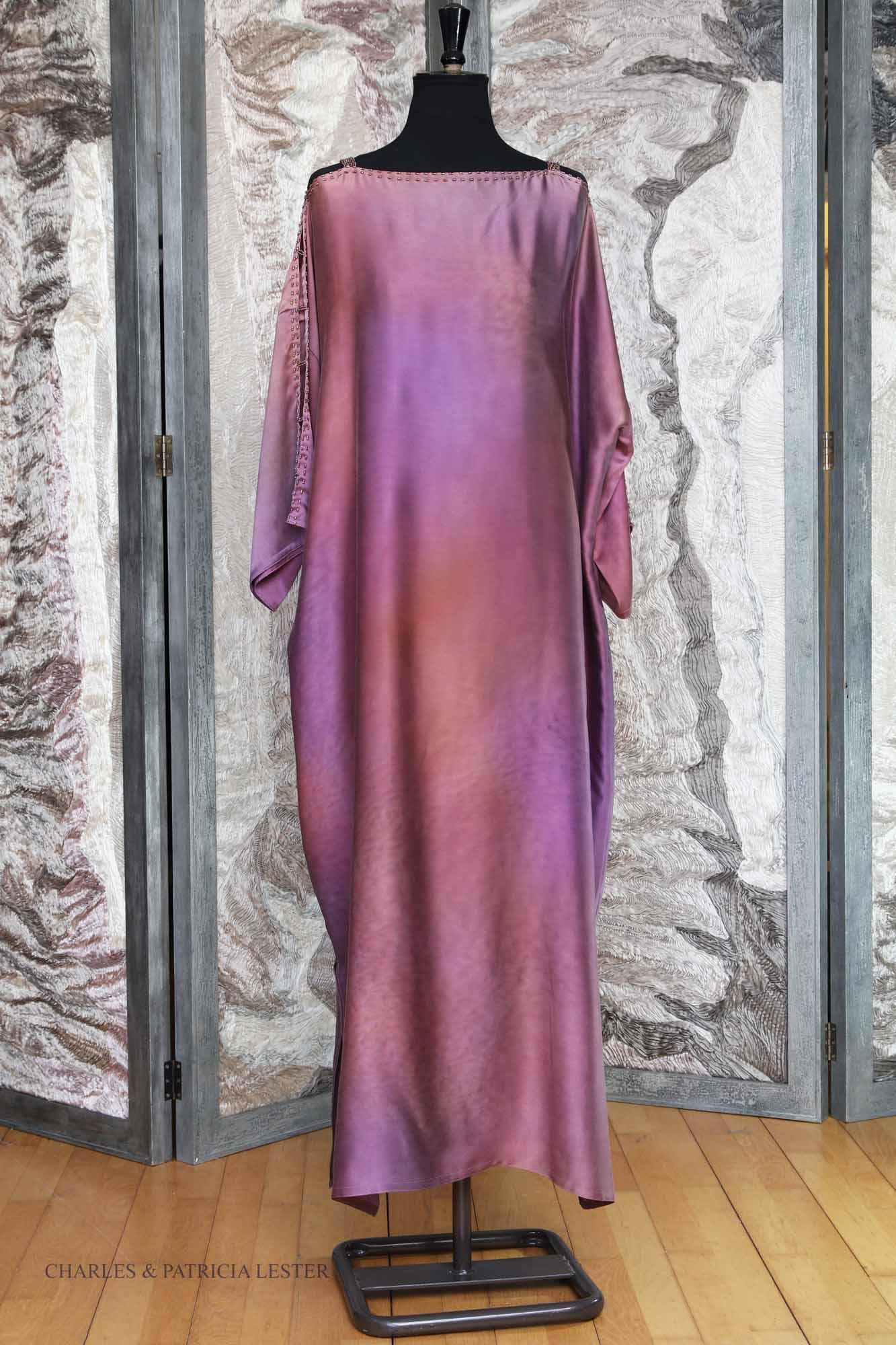 Mistress Kaftan in Purple Lustre Crepe Back Satin Silk