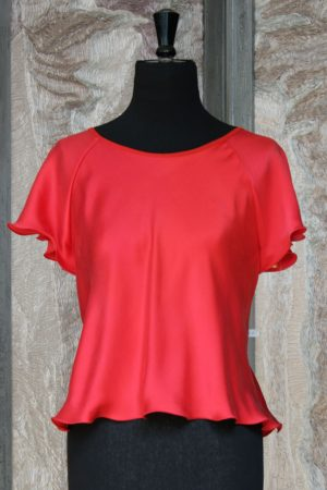 Short Sleeved Raglan Top in Red Crepe Back Satin