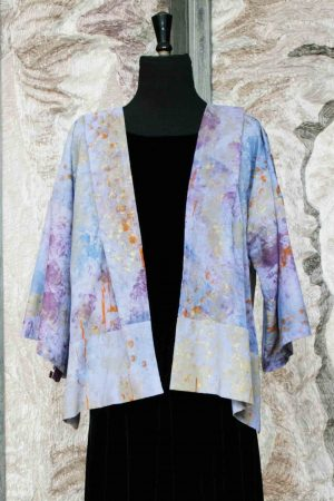 Norma Jacket in Hand Painted Cotton in Lavender