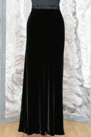 Slim Bias Skirt in Black Velvet (Faulty Fabric)