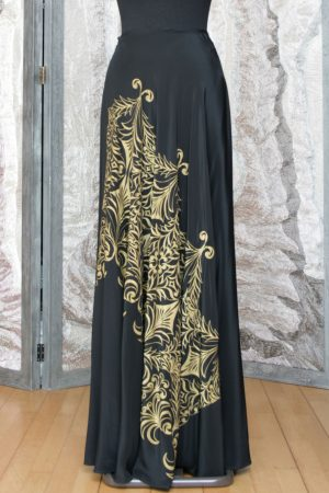 Silk Bias Skirt in Black and Gold