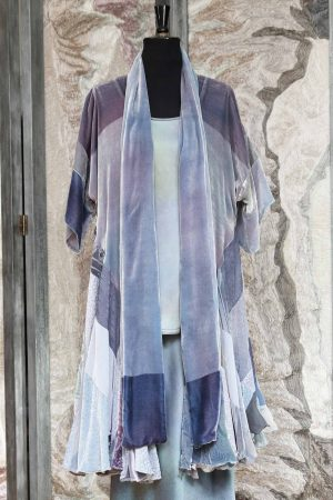 Anastasia Coat in Mixed Ghostly Greys in Silk and Viscose Velvet with Mixed Devore Prints