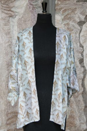 Hapi Jacket in Blue Rainbow Ribbon Silk with Elizabethan Madness Leaf Gold Print