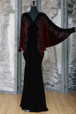 Chocolate and Ruby Red Silk and Viscose Velvet Mistress Iris Dress with Gyptian Flower Devore Print