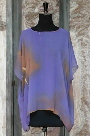 Georgette Tunic Top in Purple and Sand