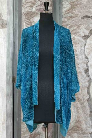 20s Jacket in Leighton Blue Silk and Viscose Velvet