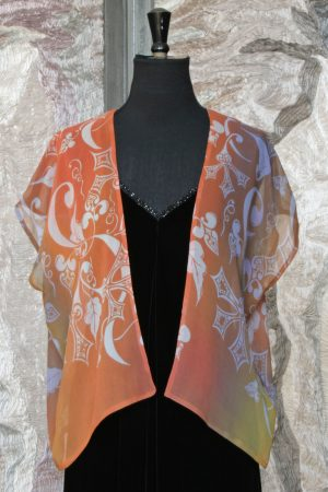 Georgette Little Cardigan in Copper Beech and Medieval Leaf Print