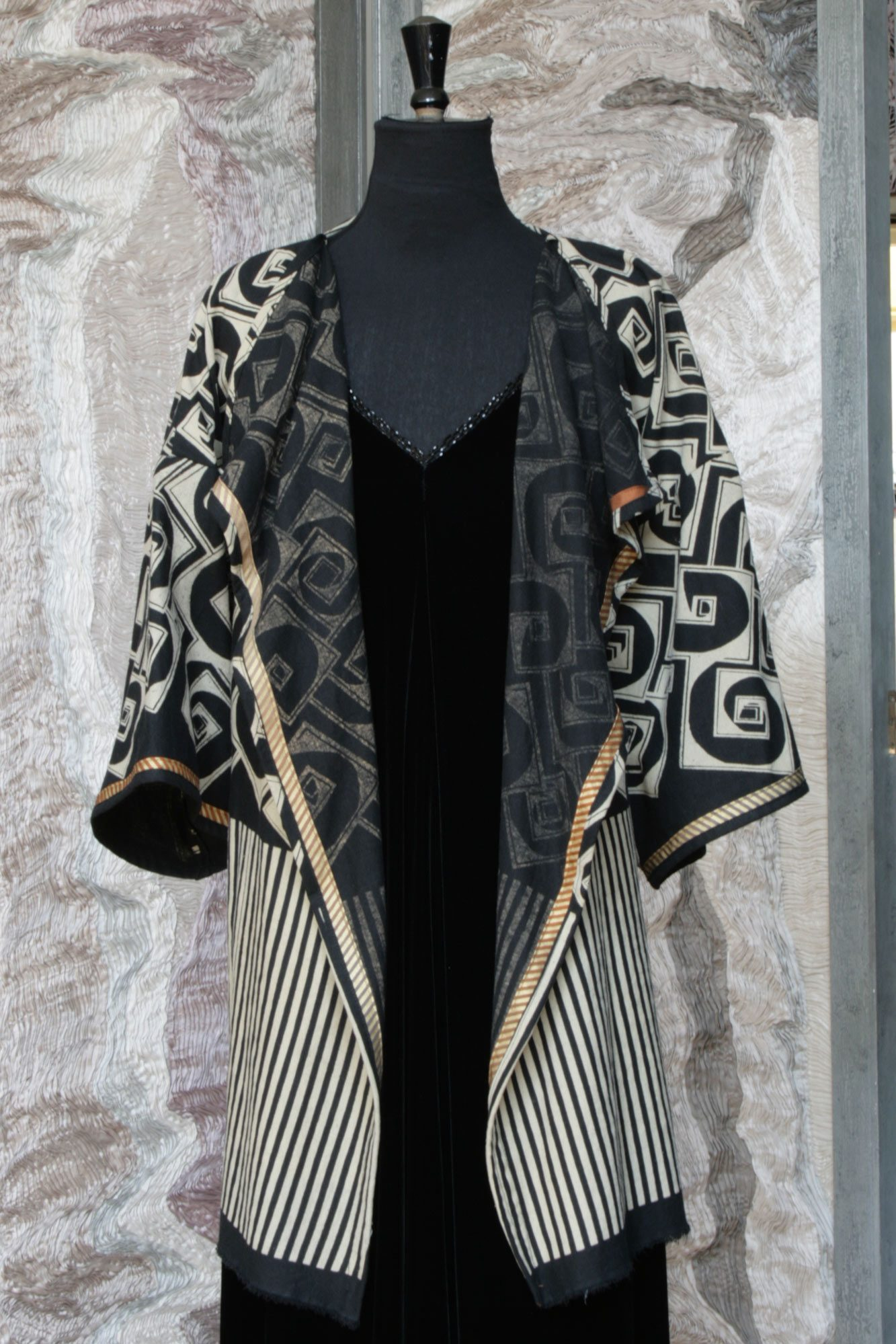 Waterfall Jacket in Black and Cream Linen with Cube and Stripe Phantom Print