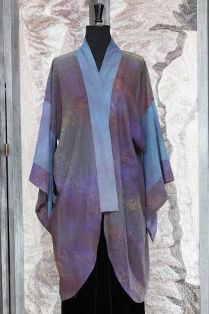 Tamashini Kimono Coat in Hand Painted Purple Woodland Cotton