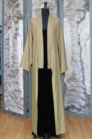 Wool and Cotton Long Kimono Coat in Biscuit