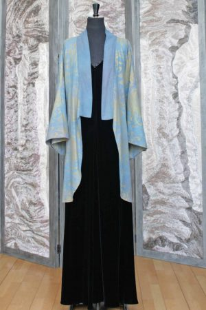 Hapi Kimono Jacket in Soft Blue with Gold Chrysanthemum Print