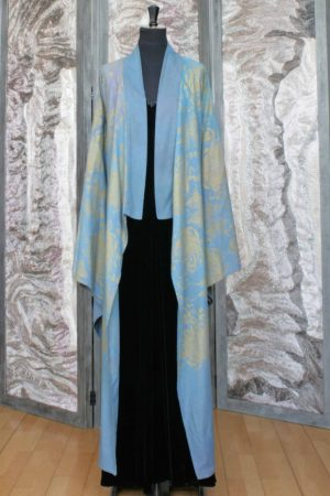 Wool and Cotton Long Kimono Coat in Soft Blue with a Gold Chrysanthemum Print