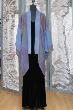 Kimono Coat in Hand Painted Purple Woodland Cotton