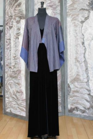 Kimono Jacket in Denim Blue Silk with Shadow Stripe Print