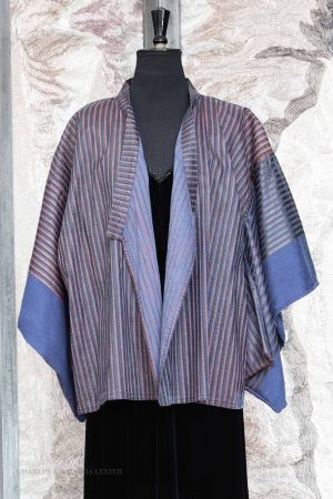 Michi Kimono Jacket in Denim Blue Cotton with Shadow Stripe Print