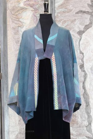 Makaira Kimono Jacket with Abstract Patch Details in Blue Slate Linen/Silk
